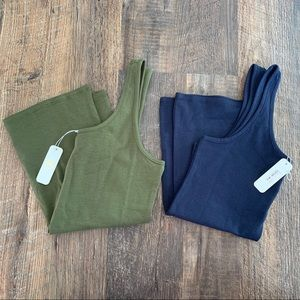 EYESHADOW S Olive & Navy Cotton Poly Tank Top LOT